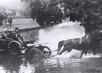 Horse rescuing old car from flooded road